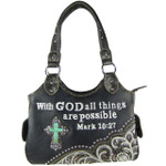 BLACK BIBLE VERSE STUDDED RHINESTONE CROSS  LOOK SHOULDER HANDBAG HB1-CHF1110BLK