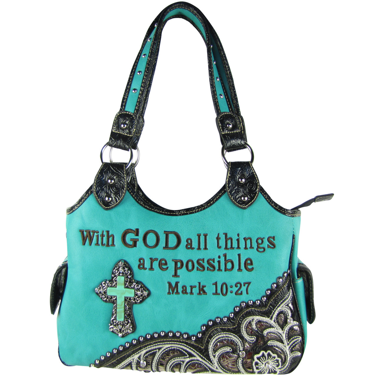 TURQUOISE BIBLE VERSE STUDDED RHINESTONE CROSS LOOK SHOULDER HANDBAG HB1-CHF1110TRQ