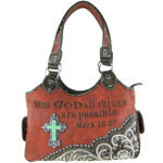 RED BIBLE VERSE STUDDED RHINESTONE CROSS  LOOK SHOULDER HANDBAG HB1-CHF1110RED