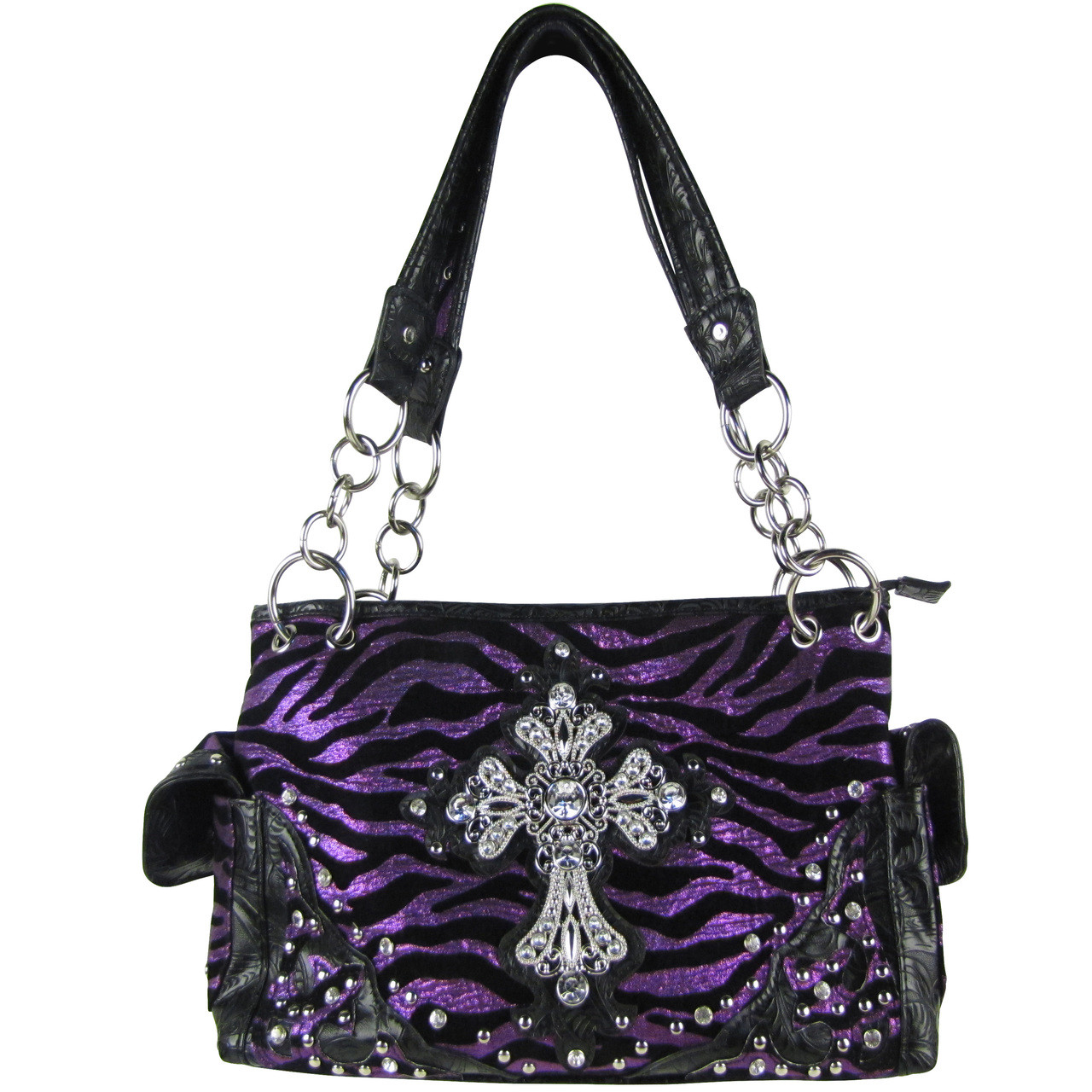 PURPLE ZEBRA RHINESTONE CROSS SHOULDER HANDBAG HB1-FZLCR-3PPL