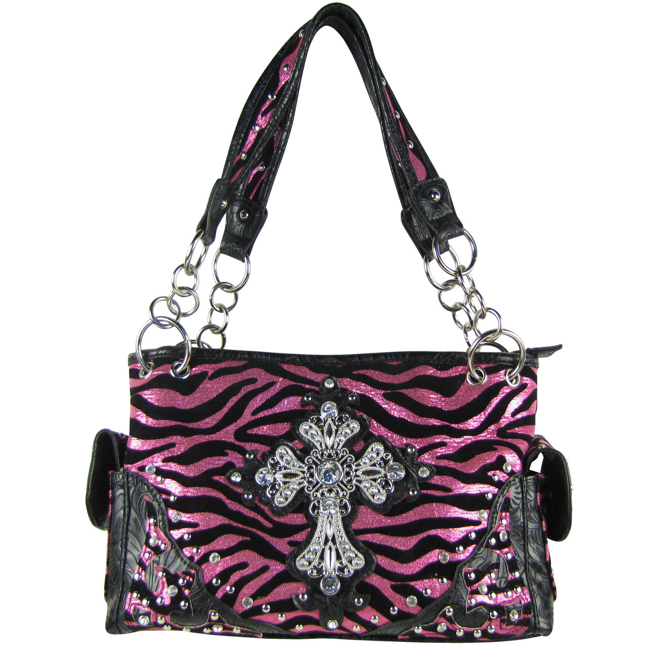 HOT PINK ZEBRA RHINESTONE CROSS SHOULDER HANDBAG HB1-FZLCR-3HPK