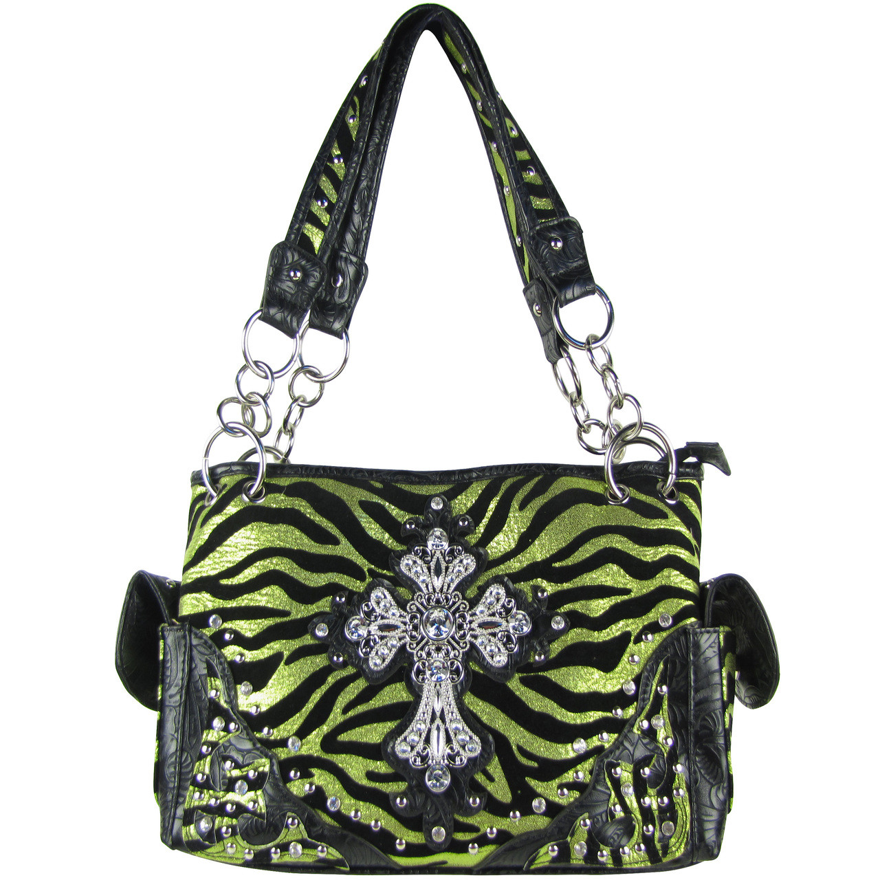 GREEN ZEBRA RHINESTONE CROSS SHOULDER HANDBAG HB1-FZLCR-3GRN