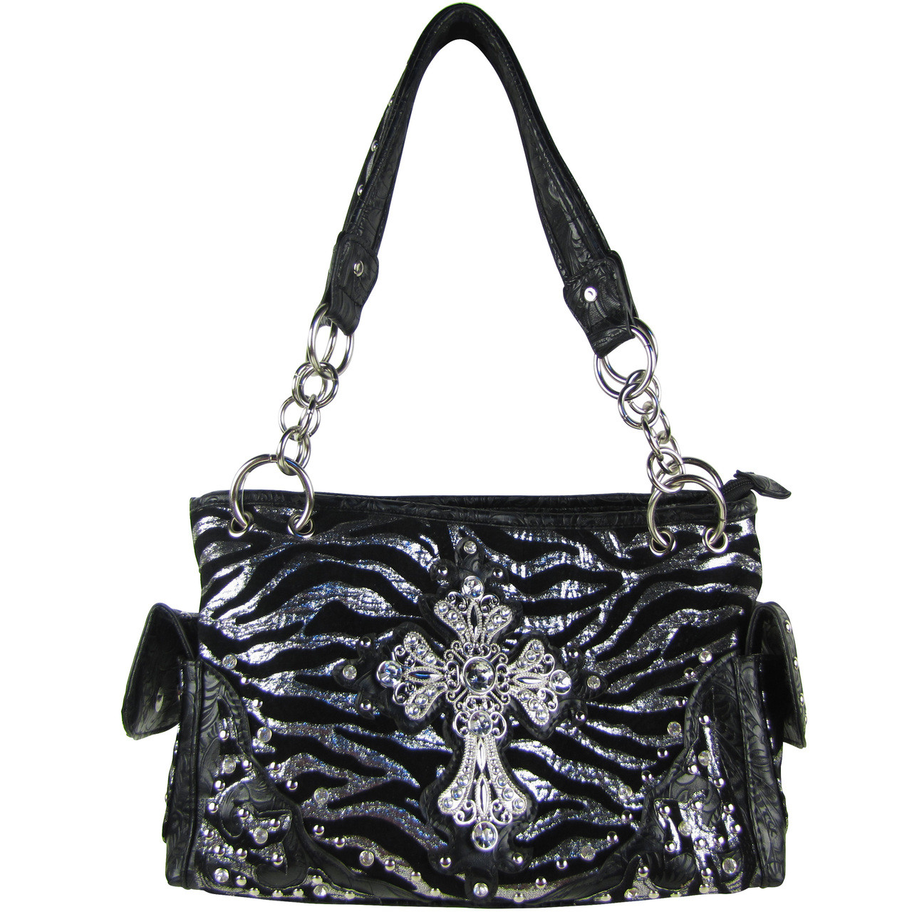 BLACK ZEBRA RHINESTONE CROSS SHOULDER HANDBAG HB1-FZLCR-3BLK