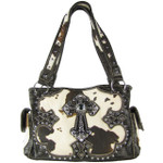 BLACK COW CROSS LOOK SHOULDER HANDBAG HB1-CHF1114BLK
