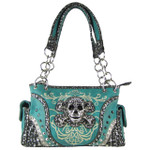 TURQUOISE SKULL DESIGN LOOK SHOULDER HANDBAG HB1-CHF0050TRQ