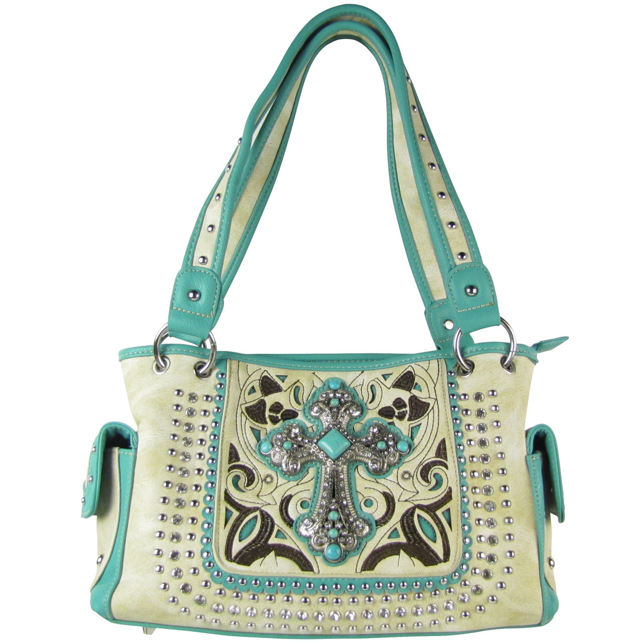 BEIGE STITCHED CROSS DESIGN LOOK SHOULDER HANDBAG HB1-CHF1118BEI