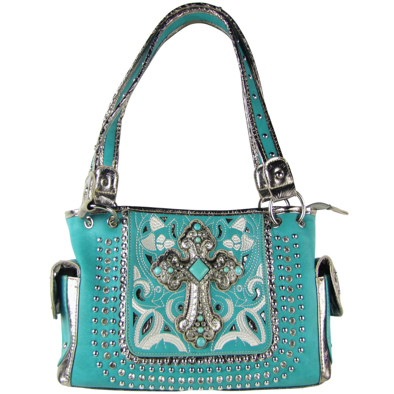 TURQUOISE STITCHED CROSS DESIGN LOOK SHOULDER HANDBAG HB1-CHF1118TRQ