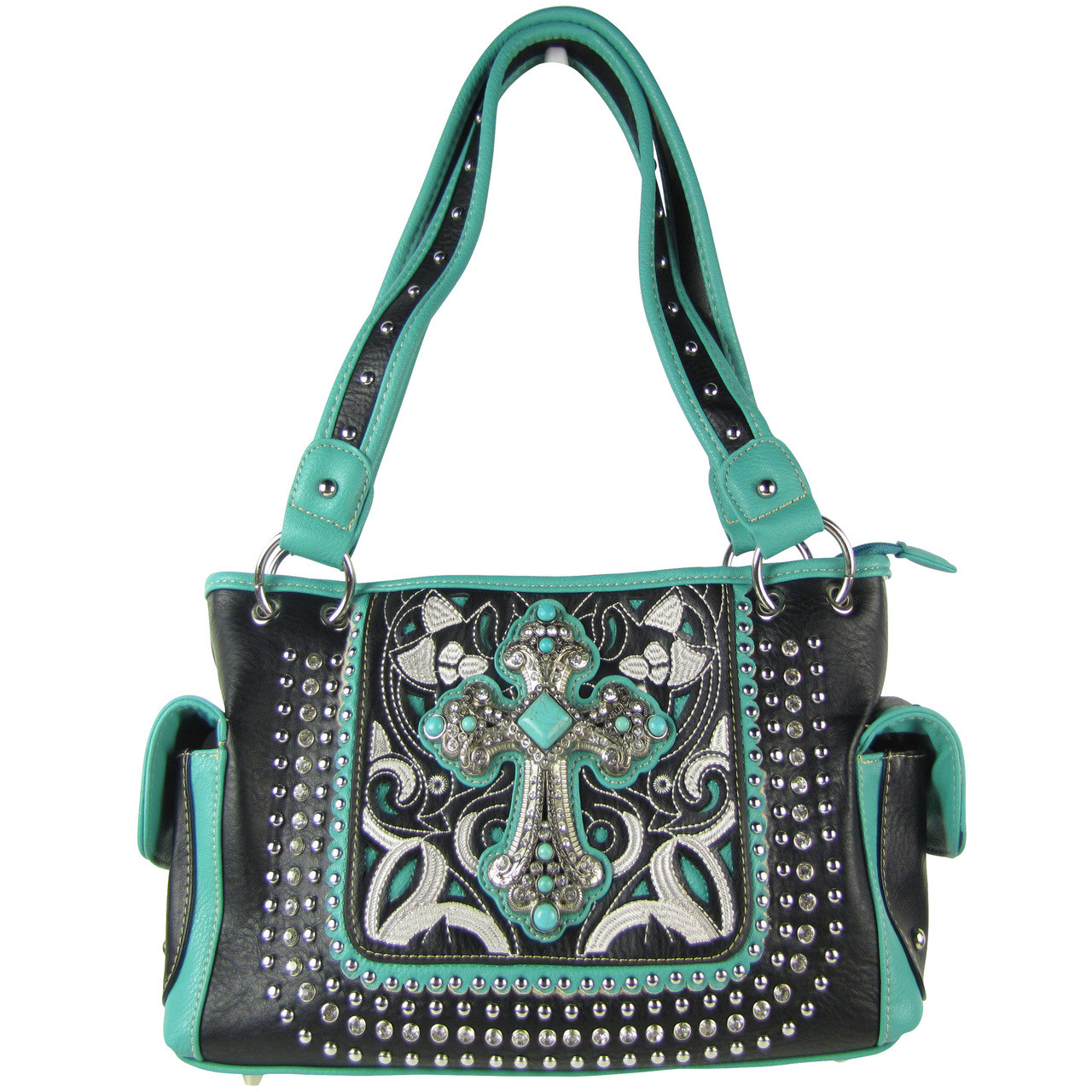 BLACK STITCHED CROSS DESIGN LOOK SHOULDER HANDBAG HB1-CHF1118BLK