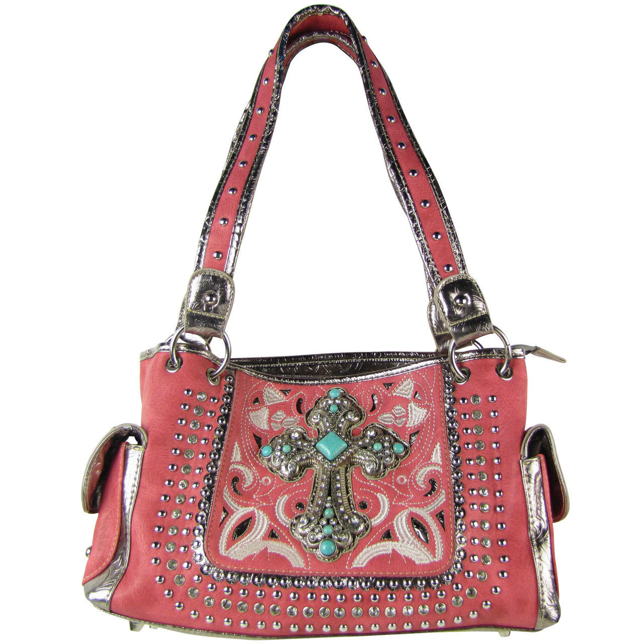 HOT PINK STITCHED CROSS DESIGN LOOK SHOULDER HANDBAG HOT PINK STITCHED CROSS DESIGN LOOK SHOULDER HANDBAG HB1-CHF1118HPK