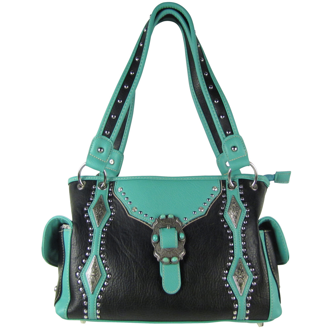 BLACK STITCHED BUCKLE DESIGN LOOK SHOULDER HANDBAG HB1-CHF1117BLK