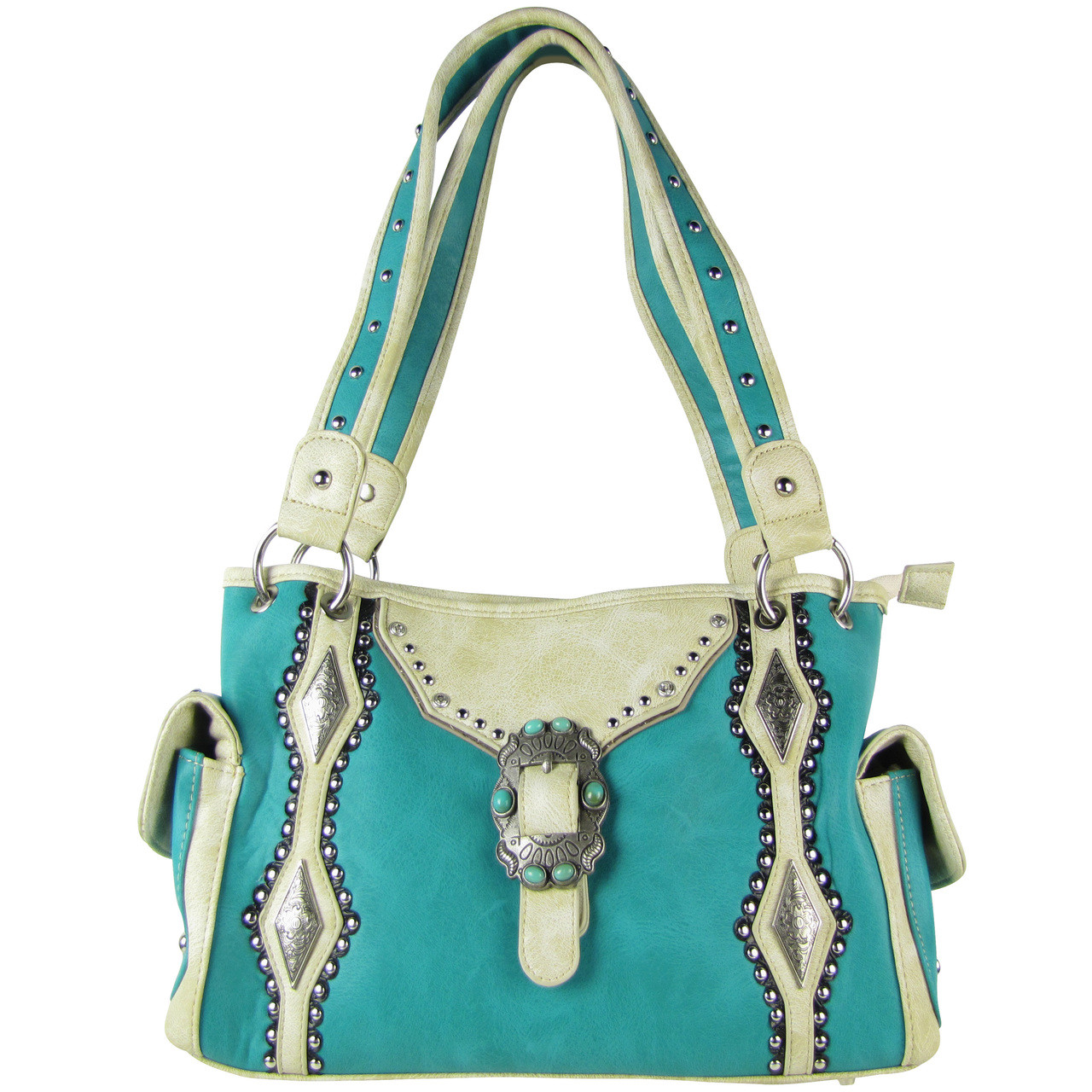 TURQUOISE STITCHED BUCKLE DESIGN LOOK SHOULDER HANDBAG HB1-CHF1117TRQ