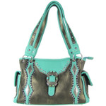 GRAY STITCHED BUCKLE DESIGN LOOK SHOULDER HANDBAG HB1-CHF1117GRY