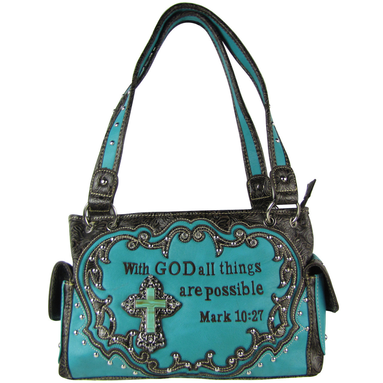 TURQUOISE BIBLE VERSE STUDDED RHINESTONE CROSS LOOK SHOULDER HANDBAG HB1-CHF1121TRQ