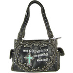 GRAY BIBLE VERSE STUDDED RHINESTONE CROSS LOOK SHOULDER HANDBAG HB1-CHF1121GRY