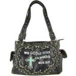 BLACK BIBLE VERSE STUDDED RHINESTONE CROSS LOOK SHOULDER HANDBAG HB1-CHF1121BLK