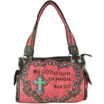 HOT PINK BIBLE VERSE STUDDED RHINESTONE CROSS LOOK SHOULDER HANDBAG HB1-CHF1121HPK