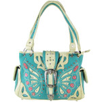 TURQUOISE BUTTERFLY BUCKLE STUDDED RHINESTONE CROSS LOOK SHOULDER HANDBAG HB1-CHF1102TRQ