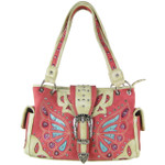HOT PINK BUTTERFLY BUCKLE STUDDED RHINESTONE CROSS LOOK SHOULDER HANDBAG HB1-CHF1102HPK