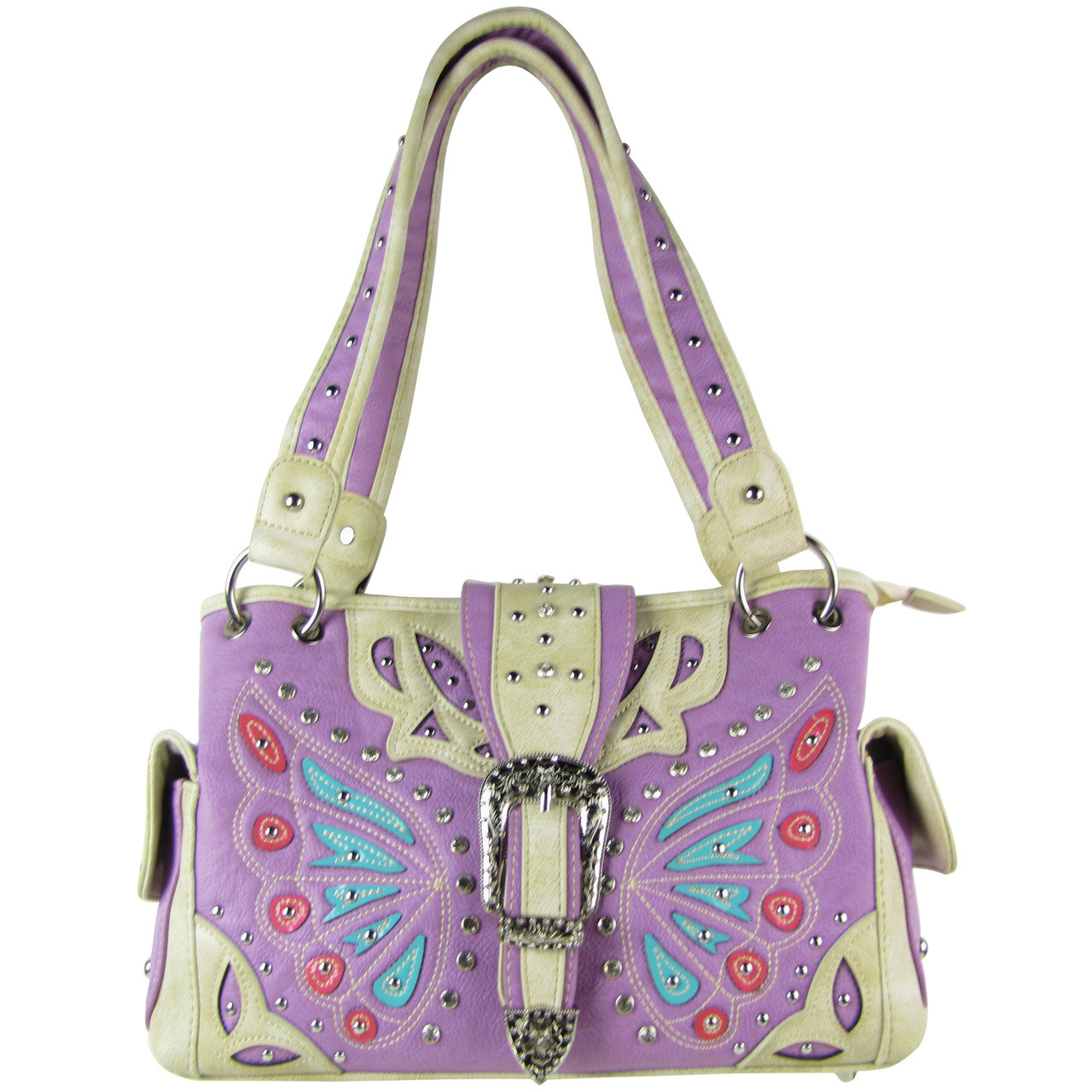 PURPLE BUTTERFLY BUCKLE STUDDED RHINESTONE CROSS LOOK SHOULDER HANDBAG HB1-CHF1102PPL