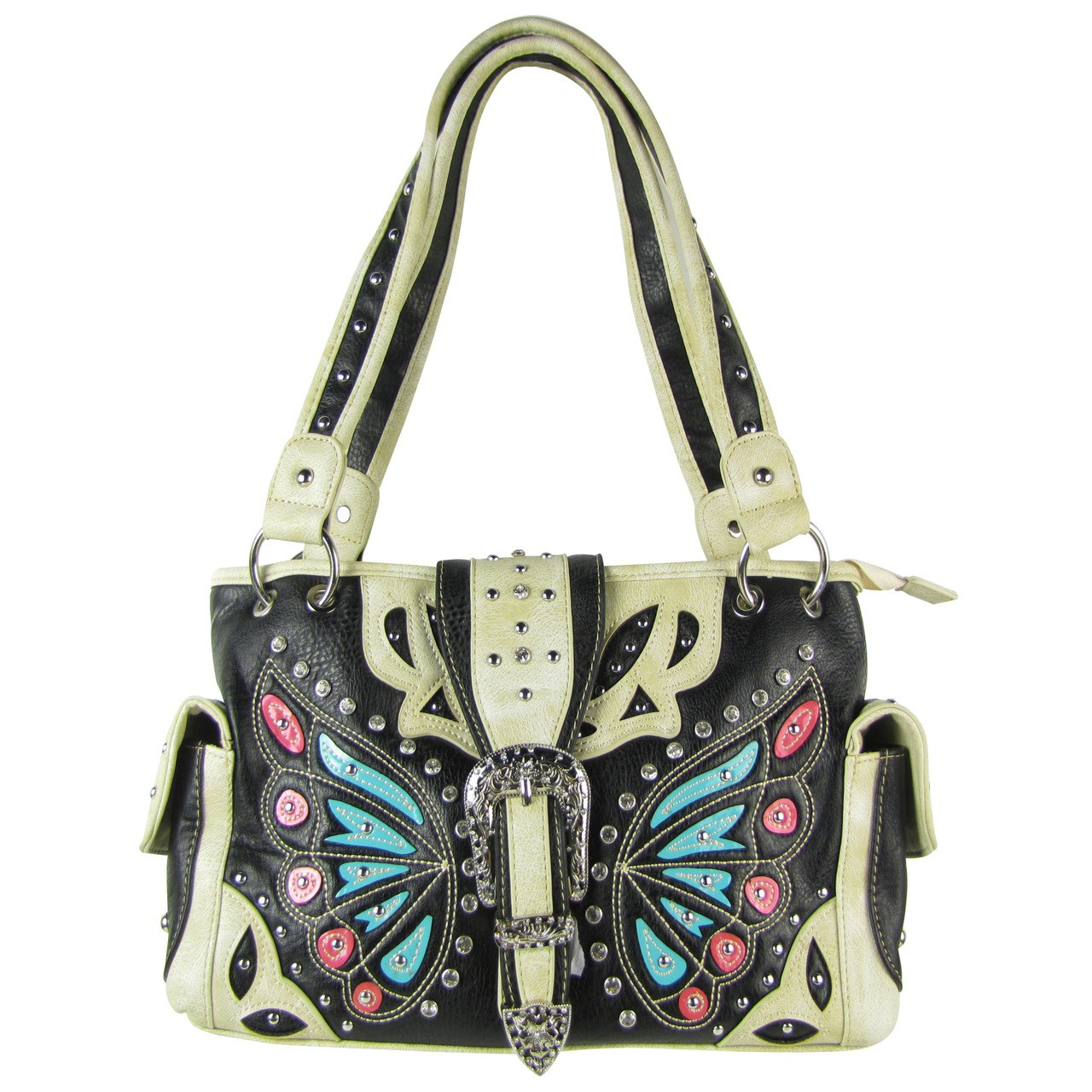 BLACK BUTTERFLY BUCKLE STUDDED RHINESTONE CROSS LOOK SHOULDER HANDBAG HB1-CHF1102BLK