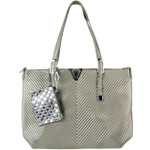 GRAY STRIPED FLAT STUDDED DESIGN LOOK SHOULDER HANDBAG WITH ATTACHABLE POUCH HB1-1153GRY