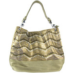BROWN CHEVRON LASER CUT DESIGN LOOK SHOULDER HANDBAG HB1-AB9033BRN