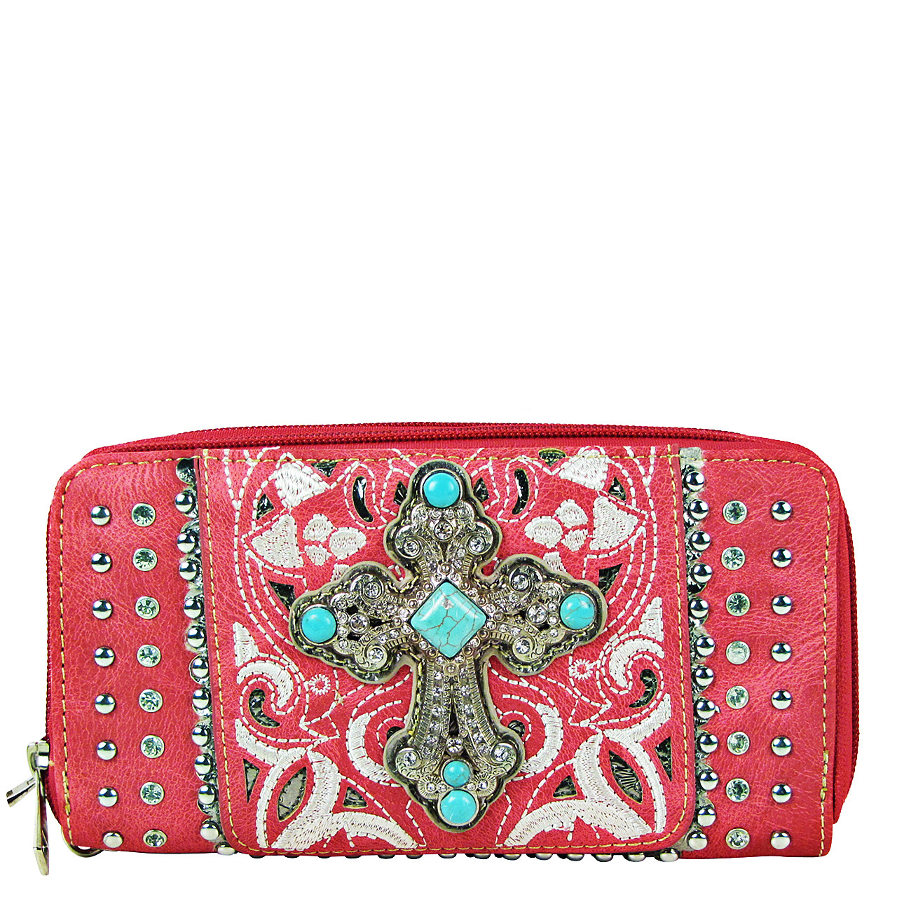 HOT PINK STUDDED RHINESTONE CROSS LOOK ZIPPER WALLET CB3-0409HPK