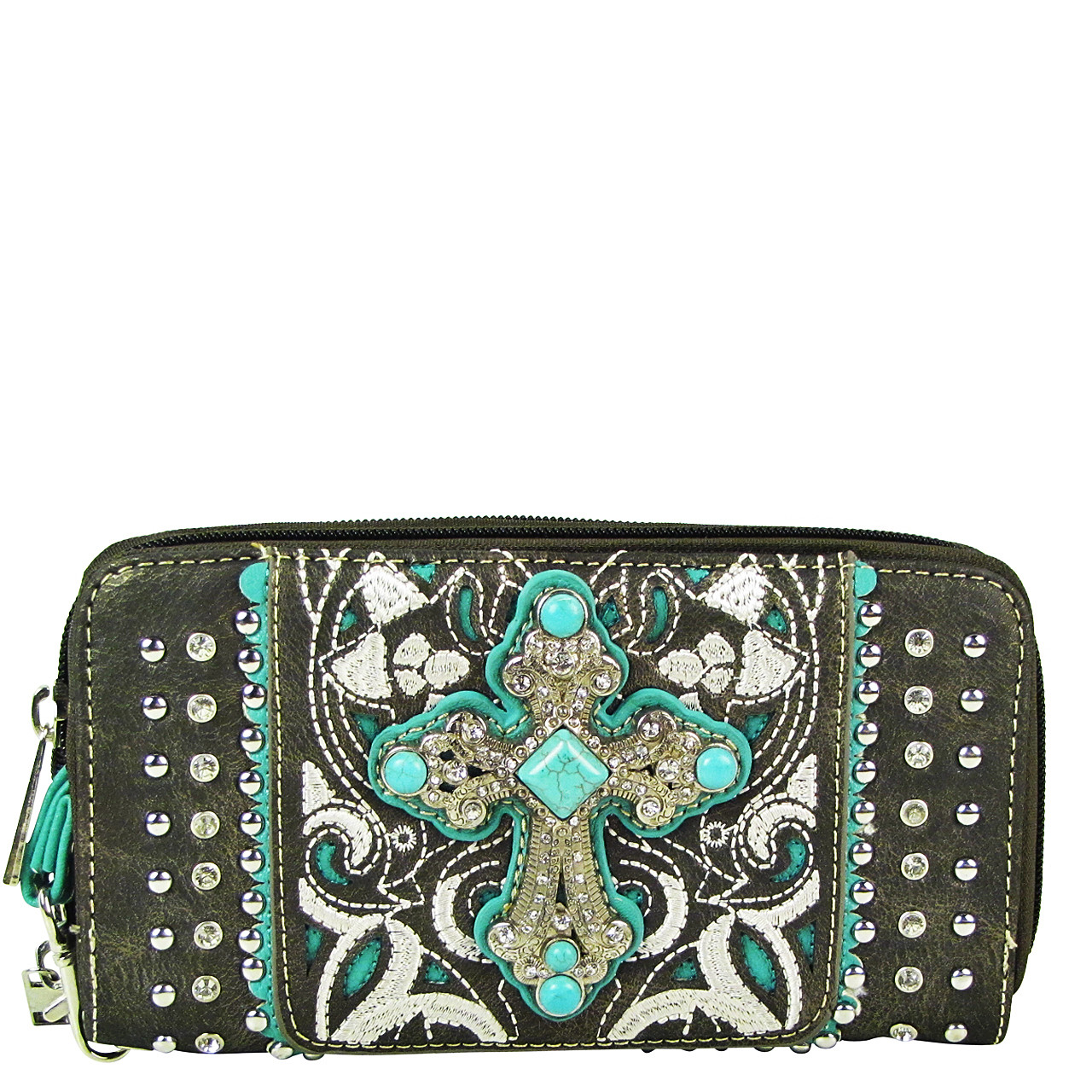 GRAY STUDDED RHINESTONE CROSS LOOK ZIPPER WALLET CB3-0409GRY