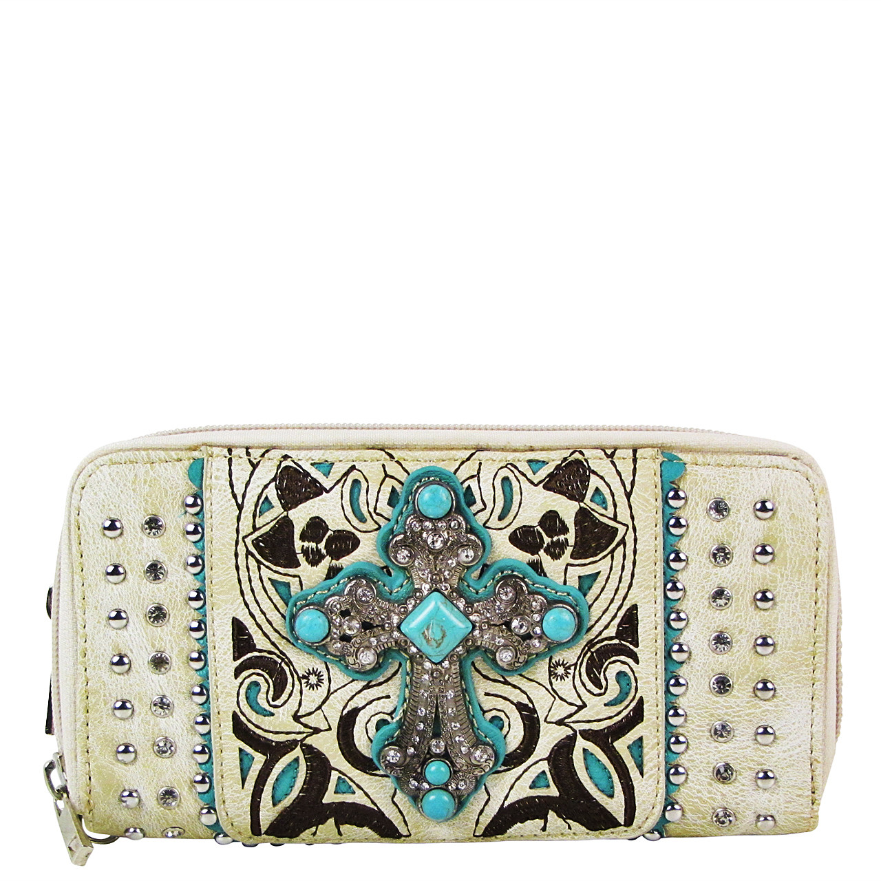 BEIGE STUDDED RHINESTONE CROSS LOOK ZIPPER WALLET CB3-0409BEI