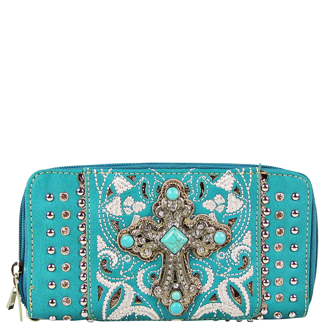 TURQUOISE STUDDED RHINESTONE CROSS LOOK ZIPPER WALLET CB3-0409TRQ