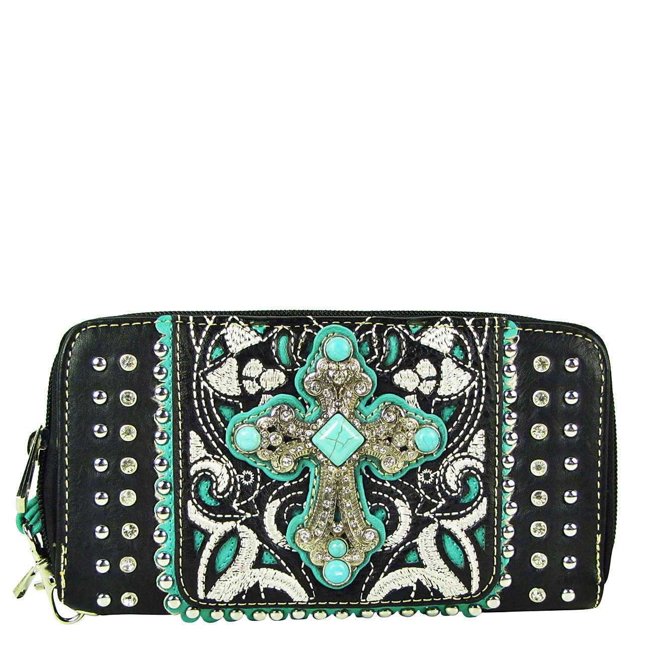 BLACK STUDDED RHINESTONE CROSS LOOK ZIPPER WALLET CB3-0409BLK