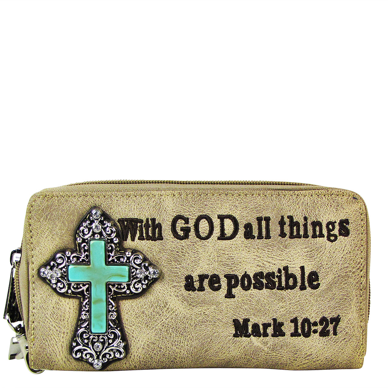 BEIGE BIBLE VERSE METAL BLUE CROSS LOOK ZIPPER WALLET CB3-0408BEI