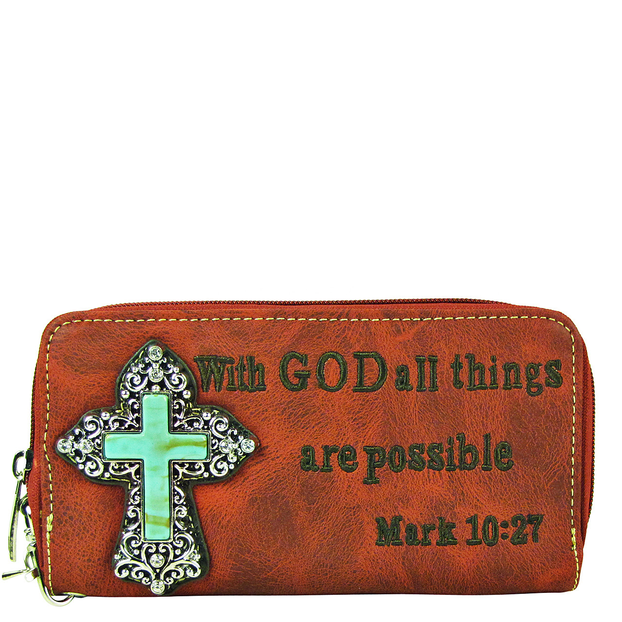 RED BIBLE VERSE METAL BLUE CROSS LOOK ZIPPER WALLET CB3-0408RED