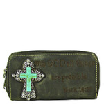 GRAY BIBLE VERSE METAL BLUE CROSS LOOK ZIPPER WALLET CB3-0408GRY