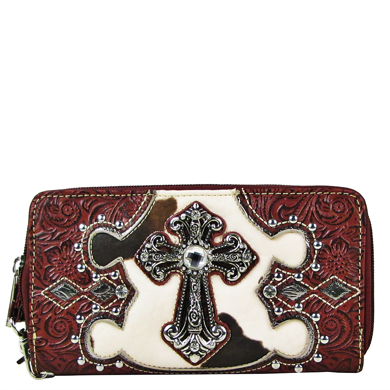 RED COW RHINESTONE CROSS LOOK ZIPPER WALLET CB3-0406RED