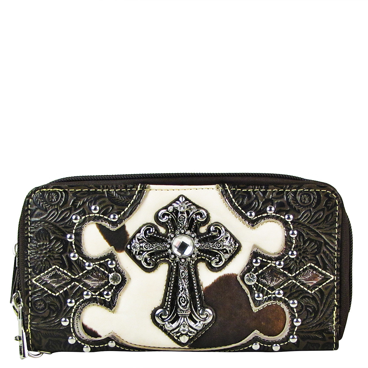 BROWN COW RHINESTONE CROSS LOOK ZIPPER WALLET CB3-0406BRN