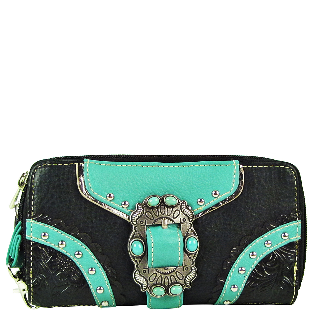 BLACK STUDDED BUCKLE LOOK ZIPPER WALLET CB3-1210BLK