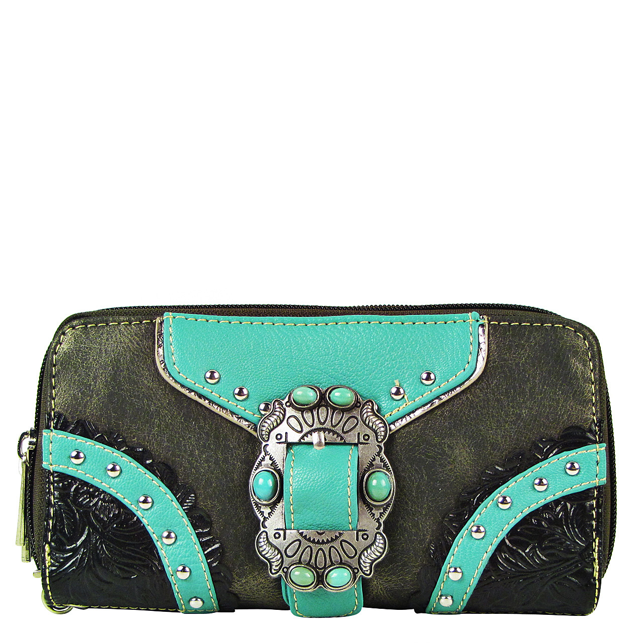GRAY STUDDED BUCKLE LOOK ZIPPER WALLET CB3-1210GRY