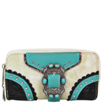 BEIGE STUDDED BUCKLE LOOK ZIPPER WALLET CB3-1210BEI
