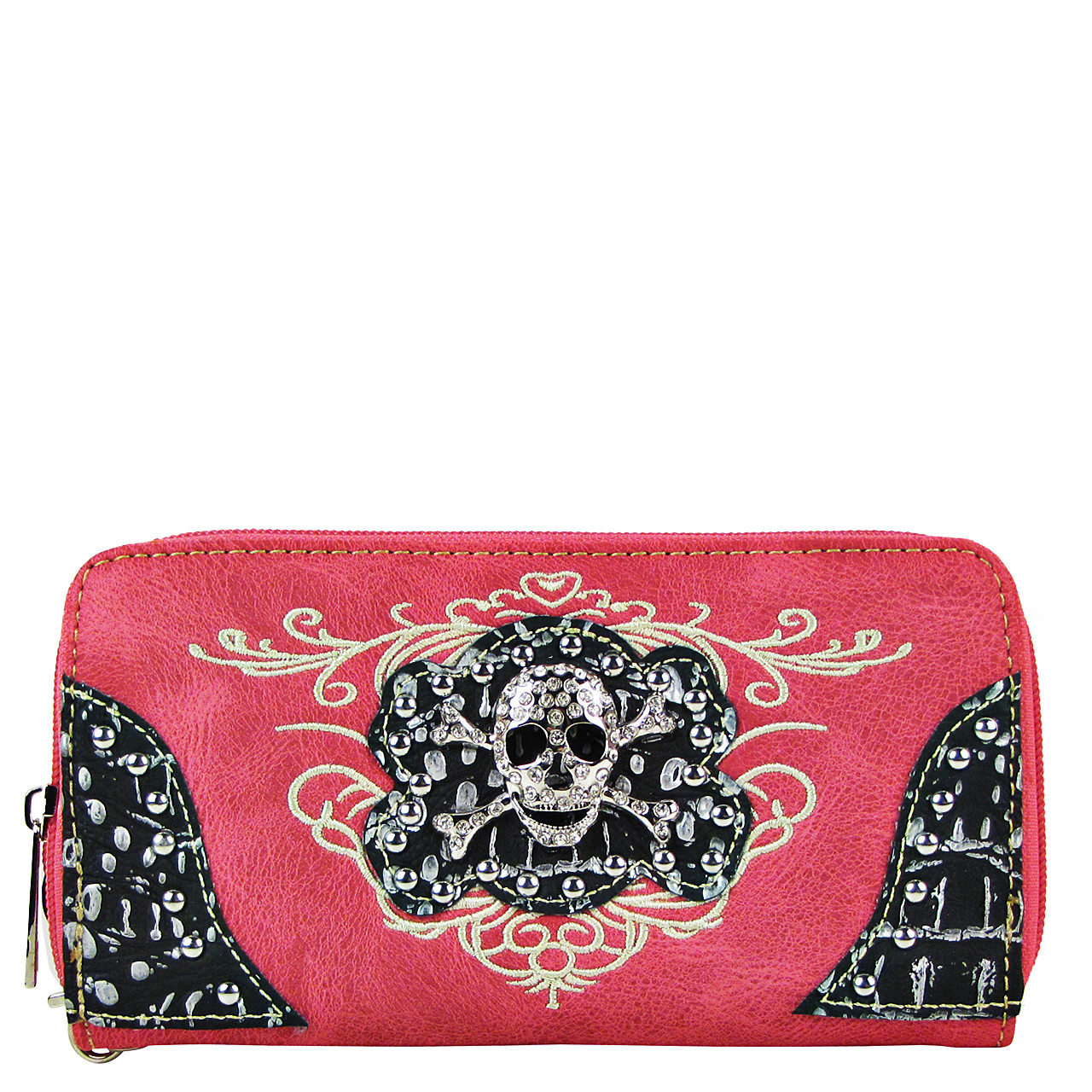 HOT PINK RHINESTONE SKULL LOOK ZIPPER WALLET CB3-1209HPK