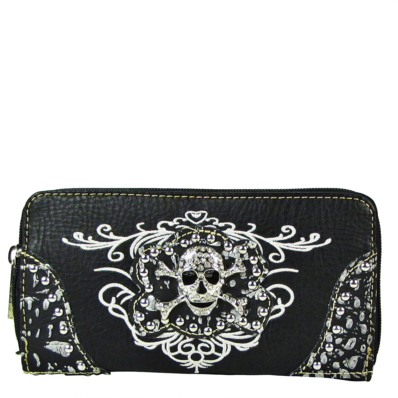 BLACK RHINESTONE SKULL LOOK ZIPPER WALLET CB3-1209BLK