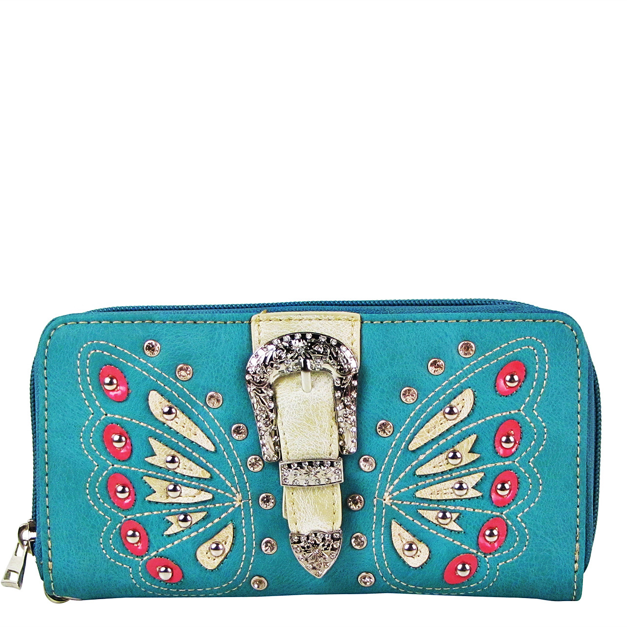 TURQUOISE BUTTERFLY RHINESTONE BUCKLE LOOK ZIPPER WALLET CB3-1211TRQ