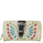 BEIGE BUTTERFLY RHINESTONE BUCKLE LOOK ZIPPER WALLET CB3-1211BEI