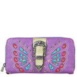 PURPLE BUTTERFLY RHINESTONE BUCKLE LOOK ZIPPER WALLET CB3-1211PPL