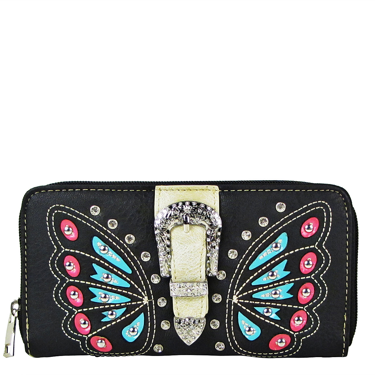BLACK BUTTERFLY RHINESTONE BUCKLE LOOK ZIPPER WALLET CB3-1211BLK
