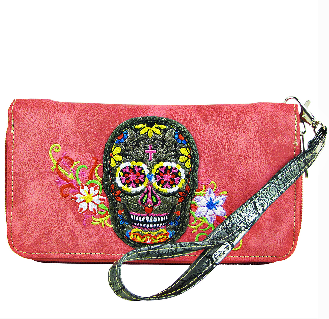 HOT PINK SKULL WITH FLOWER BACKGROUND LOOK ZIPPER WALLET CB3-1213HPK