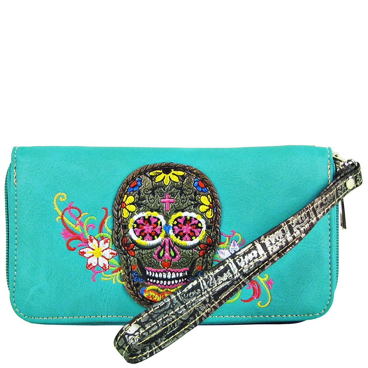 TURQUOISE SKULL WITH FLOWER BACKGROUND LOOK ZIPPER WALLET CB3-1213TRQ