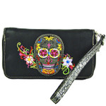 BLACK SKULL WITH FLOWER BACKGROUND LOOK ZIPPER WALLET CB3-1213BLK