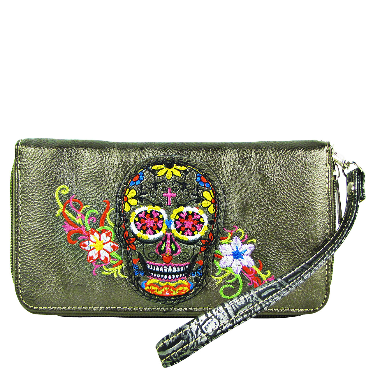 GRAY SKULL WITH FLOWER BACKGROUND LOOK ZIPPER WALLET CB3-1213GRY