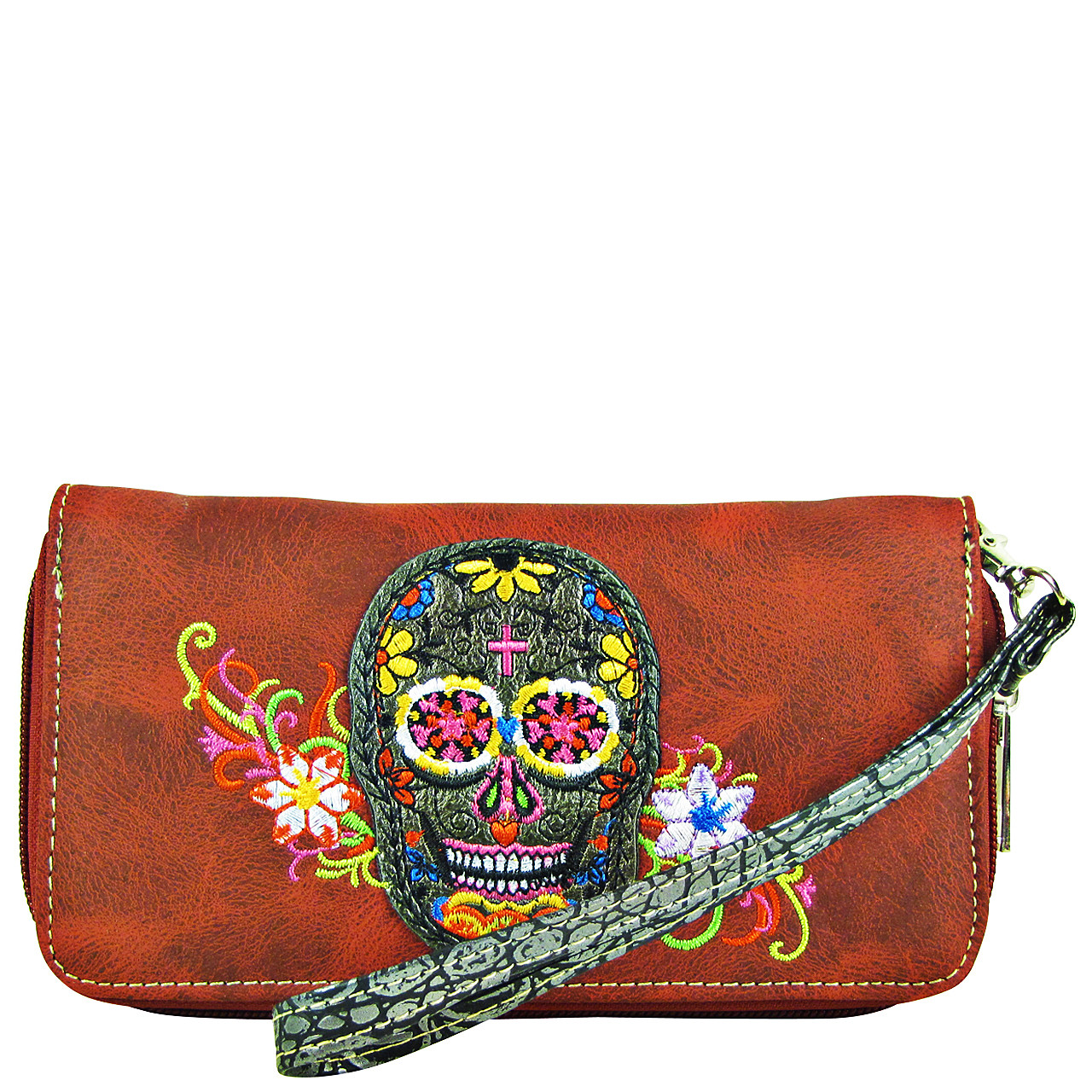 RED SKULL WITH FLOWER BACKGROUND LOOK ZIPPER WALLET CB3-1213RED